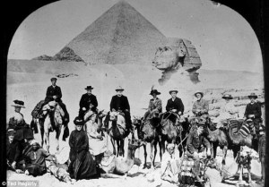 19th century female travellers visiting the Sphinx in Egypt.